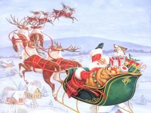kerstman-met-slee-door-de-lucht