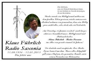 Todesanzeige Klaus Führlich (Radio Saxonia)
